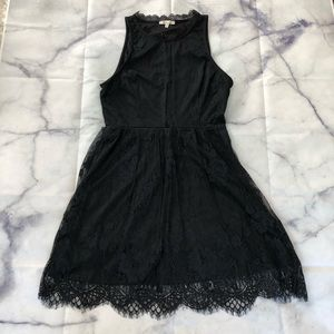 Lace overlay little black dress